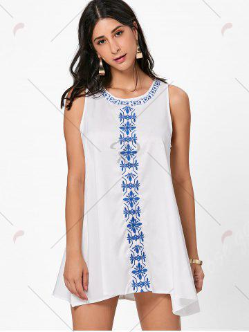 Discount Flower Embroidered Mini Summer Dress - S WHITE Mobile