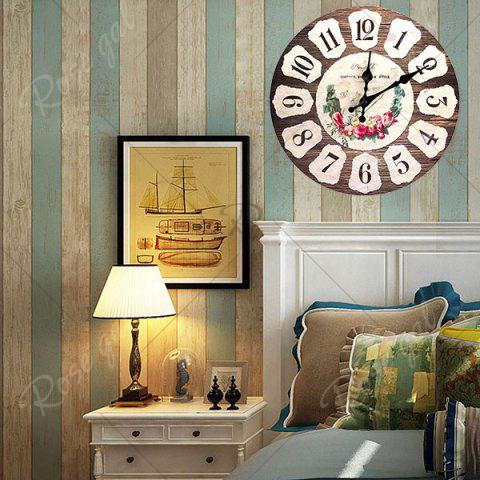Chic Flower Round Analog Wood Wall Clock - BROWN  Mobile