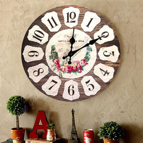 Outfit Flower Round Analog Wood Wall Clock - BROWN  Mobile