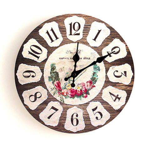 Fashion Flower Round Analog Wood Wall Clock BROWN