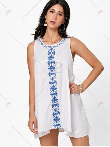 Chic Flower Embroidered Mini Summer Dress - M WHITE Mobile