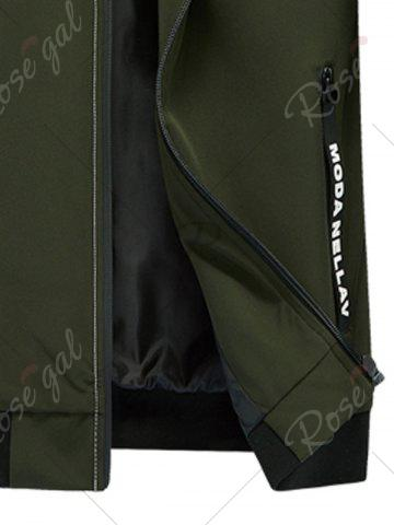 Online Zip Pocket Stand Collar Applique Jacket - 2XL ARMY GREEN Mobile
