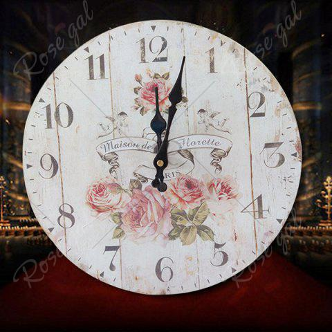 Unique Flower Round Analog Wood Wall Clock - WHITE  Mobile