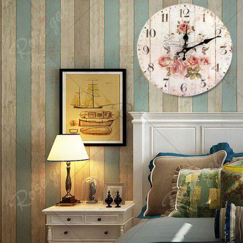Cheap Flower Round Analog Wood Wall Clock - WHITE  Mobile
