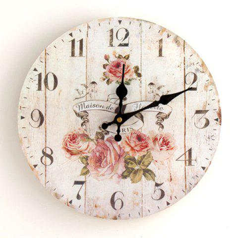 Discount Flower Round Analog Wood Wall Clock - WHITE  Mobile