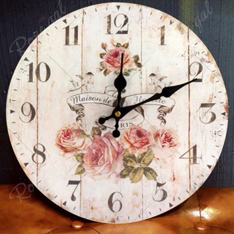Outfits Flower Round Analog Wood Wall Clock - WHITE  Mobile