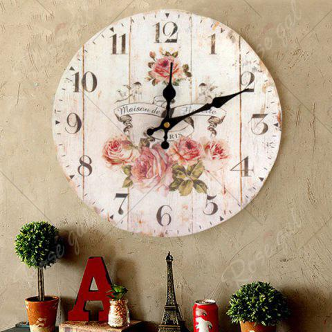 Best Flower Round Analog Wood Wall Clock - WHITE  Mobile