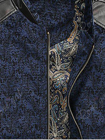 Best PU Leather Panel Floral Velvet Zip Up Jacket - 3XL BLUE Mobile