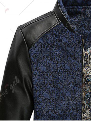 Unique PU Leather Panel Floral Velvet Zip Up Jacket - 3XL BLUE Mobile