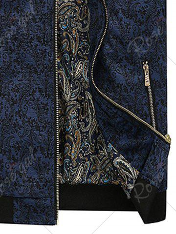 Cheap PU Leather Panel Floral Velvet Zip Up Jacket - 3XL BLUE Mobile