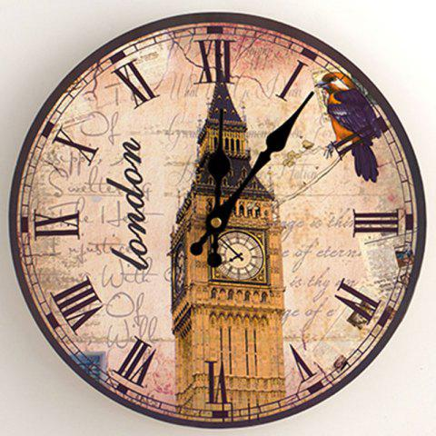 Unique Big Ben Analog Wood Round Wall Clock - 30*30CM ANTIQUE BROWN Mobile