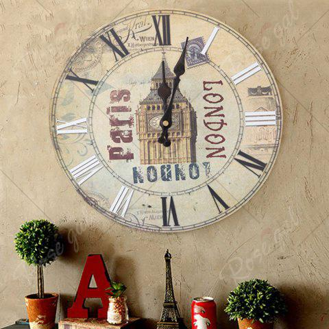 Shop Big Ben Analog Wood Round Wall Clock - BEIGE  Mobile