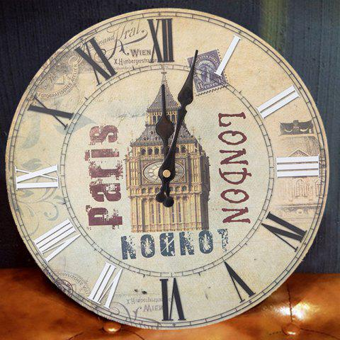 Discount Big Ben Analog Wood Round Wall Clock - BEIGE  Mobile