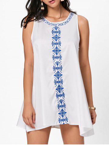 Cheap Flower Embroidered Mini Summer Dress WHITE XL