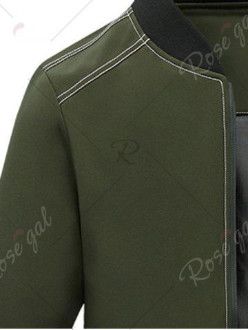 Chic Zip Pocket Stand Collar Applique Jacket - 4XL ARMY GREEN Mobile