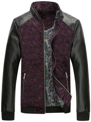 Fashion PU Leather Panel Floral Velvet Zip Up Jacket - XL WINE RED Mobile