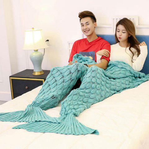 Fancy Crochet Fish Scale Pattern Mermaid Blanket For Lovers - 180*155CM GREEN Mobile