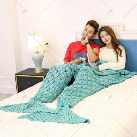 Unique Crochet Fish Scale Pattern Mermaid Blanket For Lovers - 180*155CM GREEN Mobile
