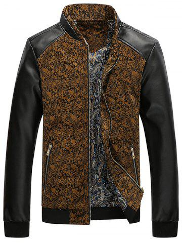 Trendy PU Leather Panel Floral Velvet Zip Up Jacket KHAKI 2XL