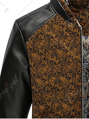 Outfits PU Leather Panel Floral Velvet Zip Up Jacket - XL KHAKI Mobile