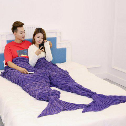 Fancy Crochet Fish Scale Pattern Mermaid Blanket For Lovers - 180*155CM PURPLE Mobile