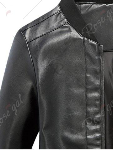 Outfits Zip Up Rib Panel Faux Leather Jacket - L BLACK Mobile