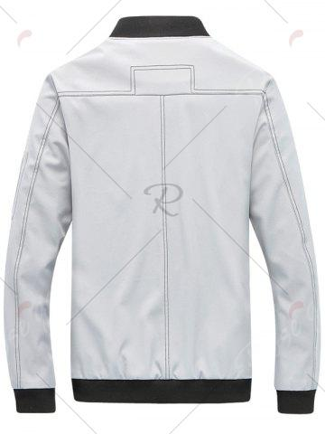 Store Zip Pocket Stand Collar Applique Jacket - XL GRAY Mobile