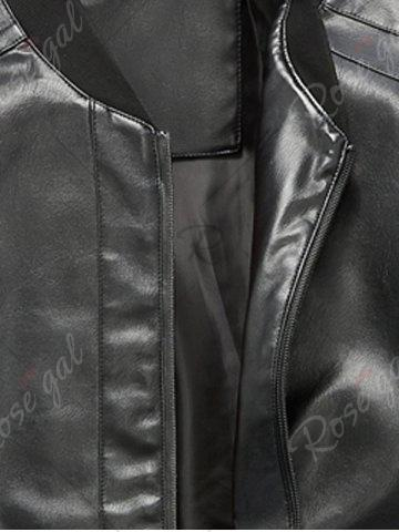 Fancy Zip Up Rib Panel Faux Leather Jacket - L BLACK Mobile