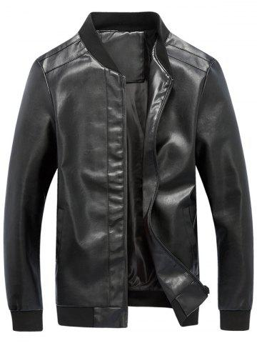 Online Zip Up Rib Panel Faux Leather Jacket - 2XL BLACK Mobile