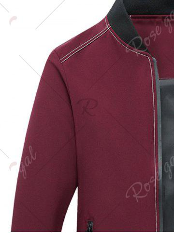 New Zip Pocket Stand Collar Applique Jacket - 5XL RED Mobile