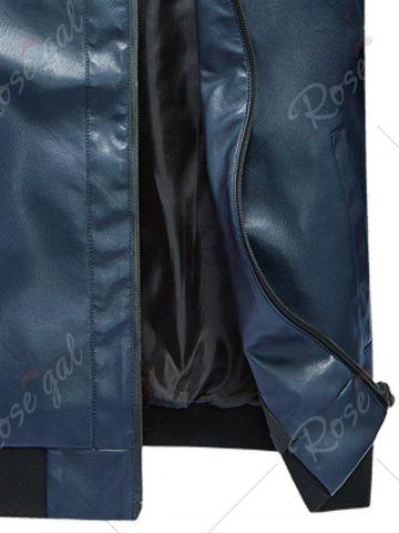 Buy Zip Up Rib Panel Faux Leather Jacket - 4XL BLUE Mobile