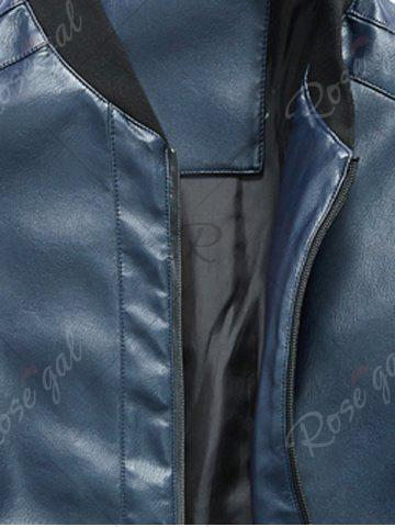Discount Zip Up Rib Panel Faux Leather Jacket - 4XL BLUE Mobile