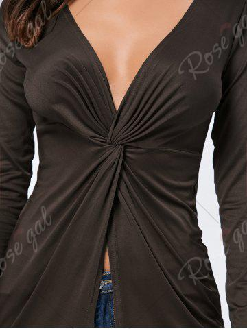 Cheap Front Knot Slit Plunging Neckline T-shirt - S COFFEE Mobile