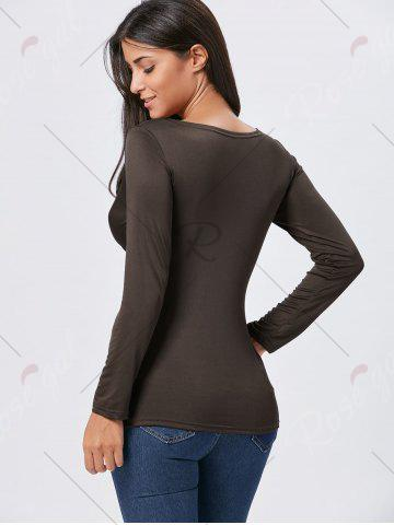 Fashion Front Knot Slit Plunging Neckline T-shirt - S COFFEE Mobile