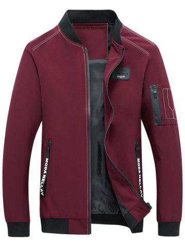 Buy Zip Pocket Stand Collar Applique Jacket RED L