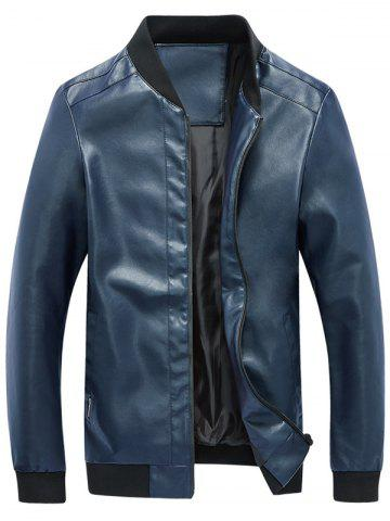Zip Up Rib Panel Faux Leather Jacket Bleu 2XL