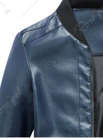 Unique Zip Up Rib Panel Faux Leather Jacket - L BLUE Mobile