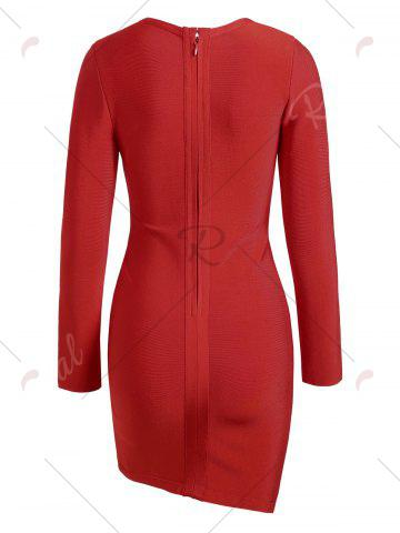 Trendy Long Sleeve Lace-up Asymmetric Bandage Dress - S RED Mobile