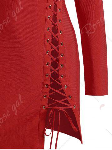 Discount Long Sleeve Lace-up Asymmetric Bandage Dress - L RED Mobile