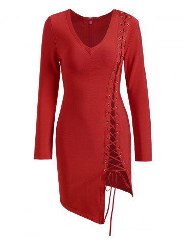 Buy Long Sleeve Lace-up Asymmetric Bandage Dress - L RED Mobile