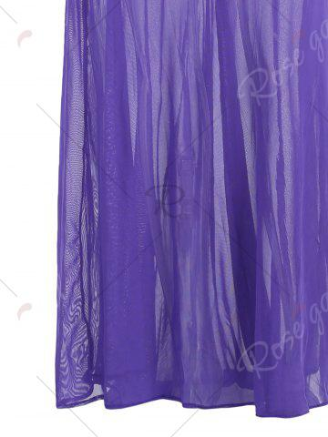 Affordable Sheer Maxi Cut Out Bandage Dress - M PURPLE Mobile
