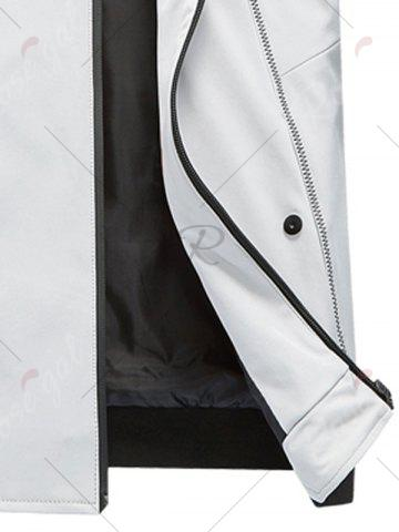 Sale Suture Panel Stand Collar Zip Up Jacket - L GRAY Mobile
