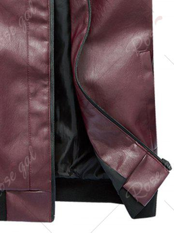 Discount Zip Up Rib Panel Faux Leather Jacket - 2XL RED Mobile
