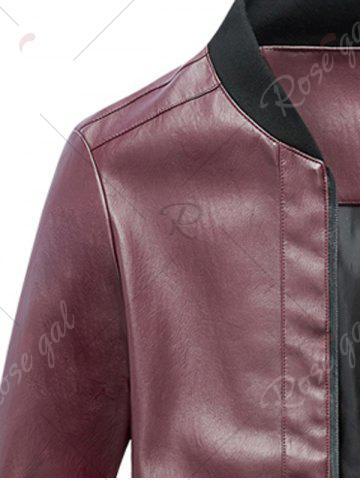 Fancy Zip Up Rib Panel Faux Leather Jacket - XL RED Mobile