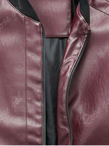 Fashion Zip Up Rib Panel Faux Leather Jacket - L RED Mobile