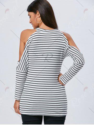 Chic Long Sleeve Striped Cold Shoulder Tunic Top - M STRIPE Mobile