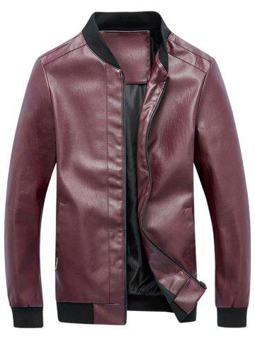 Zip Up Rib Panel Faux Leather Jacket Rouge L