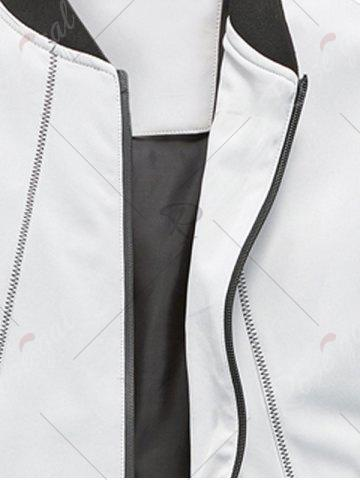 Fancy Suture Panel Stand Collar Zip Up Jacket - 2XL GRAY Mobile