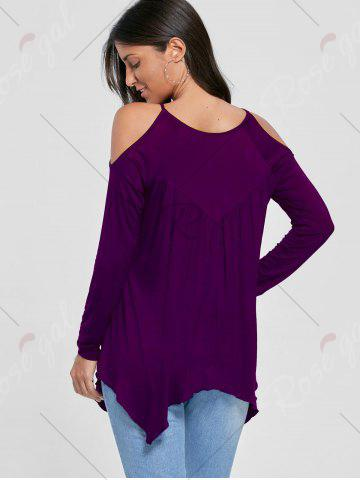 Fancy Open Shoulder Handkerchief Top - DEEP PURPLE L Mobile