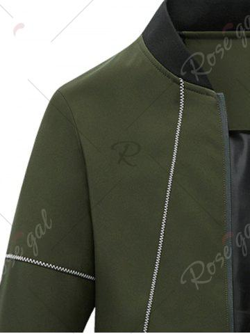 Online Suture Panel Stand Collar Zip Up Jacket - 4XL ARMY GREEN Mobile